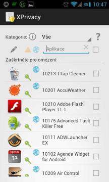 XPrivacy - Seznam aplikací