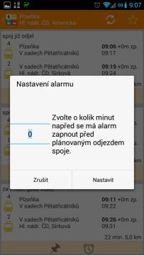 MHD Plzeň: nastavení upozornění