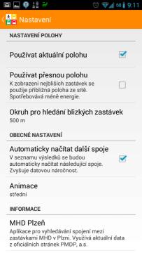 MHD Plzeň: nastavení