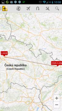 Vzdálenost letišť: zobrazení v mapě