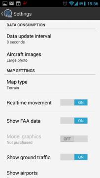 Flightradar24: nastavení
