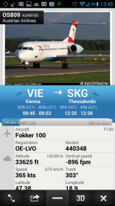 Zobrazení podrobností o letadle a trase