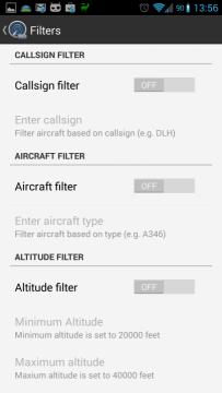 Filtrování letadel v mapě