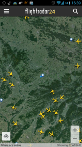 Mapa s letadly a letišti
