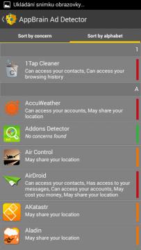 AppBrain Ad Detector - seznam aplikací podle abecedy