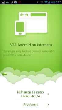 AirDroid: úvodní obrazovka