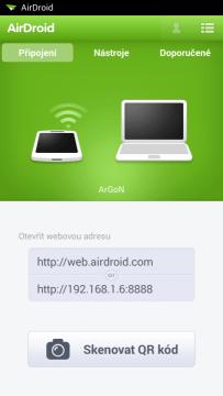 AirDroid: možnosti připojení