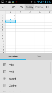 Disk Google: editace tabulky
