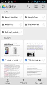 Disk Google: seznam souborů