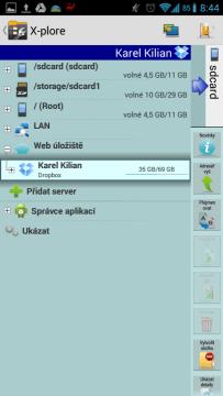 X-plore File Manager: spolupráce s cloudem