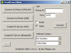 Prostředí aplikace DroidCam