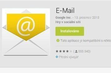 Objeví se Systémová aplikace E-mail v Obchodě Play?