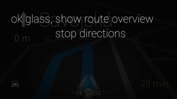 Google Glass navigace pokyny