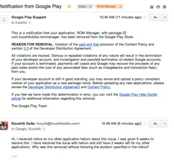 Upozornění Google vývojáři