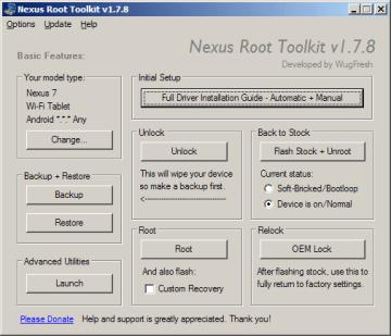 Prostředí aplikace Nexus Root Toolkit
