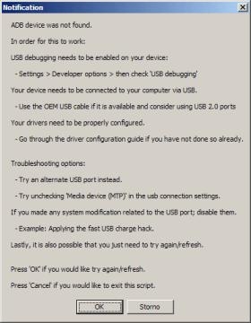 Chybová hláška - zařízení není rozpoznáno