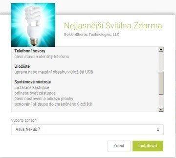 Drzé požadavky na oprávnění aplikace Brightest Flashlight