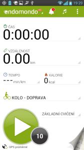 Endomondo - úvodní obrazovka
