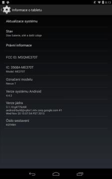 Nexus 7 2012 Wi-Fi s Androidem 4.4.2