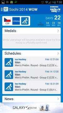 Sochi 2014 WOW: hlavní obrazovka