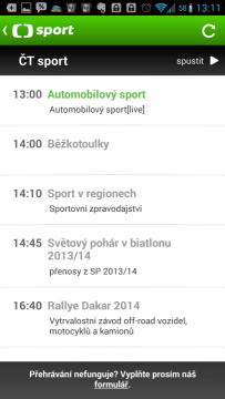 ČT sport: TV program