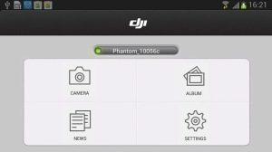 DJI Vision hlavni menu