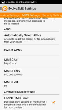 Možnosti MMS Settings