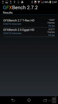 Sony Xperia Z1 Compact - výsledky v benchmarku GFXBench