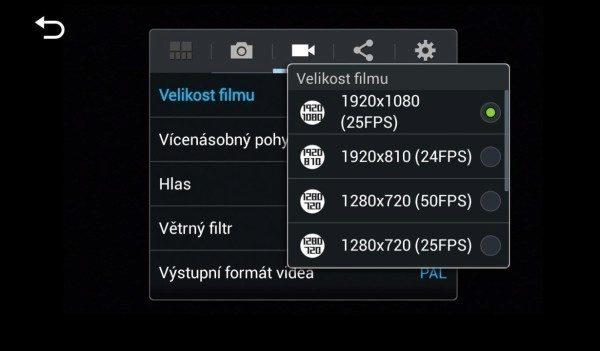 Samsung Galaxy NX - nastavení videa