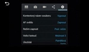 Samsung Galaxy NX - obecné nastavení