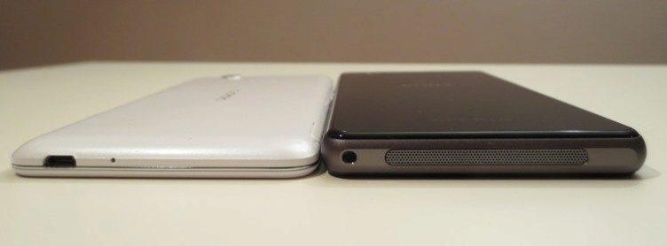 Sony Xperia Z1 Compact porovnání tloušťky s Oppo R819
