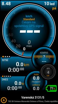 Prostředí aplikace Ulysse Speedometer