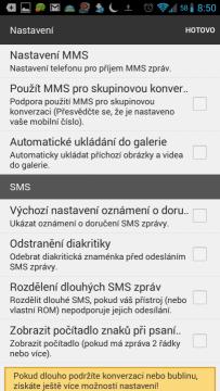 Možnosti nastavení aplikace Textra SMS