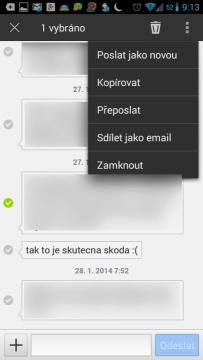 Možnosti práce s více SMS současně
