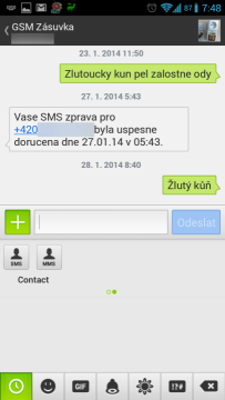 Textra umí posílat kontakty