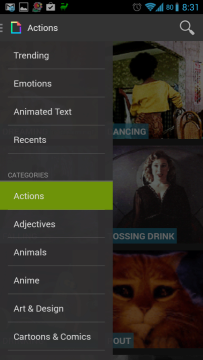 Textra poskytuje databázi animovaných GIFů