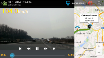Zobrazení záznamu s mapou
