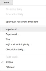 záloha kontaktů GMail