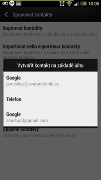 záloha kontaktů Android