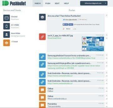 Webové rozhraní aplikace Pushbullet