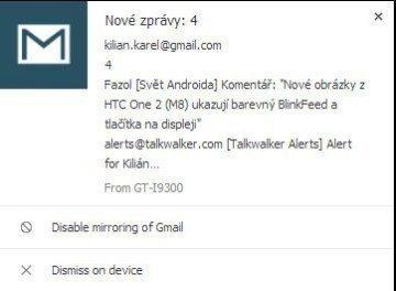 Oznámení o nových e-mailech