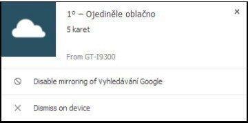 Oznámení z Google Now na desktopu