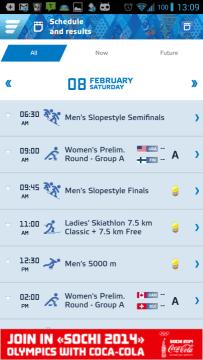 Sochi 2014 Results: kalendář událostí