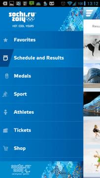 Sochi 2014 Results: postranní nabídka