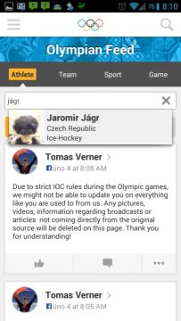 Olympic Athletes' Hub: vyhledávání sportovců