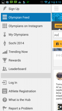 Olympic Athletes' Hub: postranní nabídka