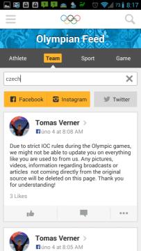 Olympic Athletes' Hub: hledání podle týmu