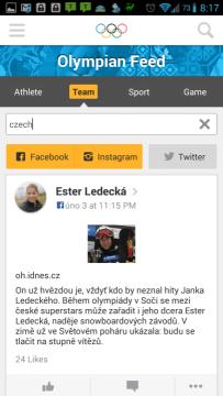 Olympic Athletes' Hub: příspěvky na sociálních sítích