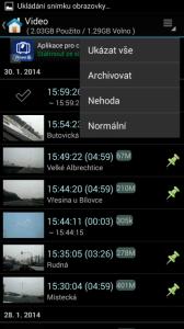 Seznam nahrávek s možností filtrování