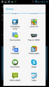 Pushbullet se integruje do systémového sdílení